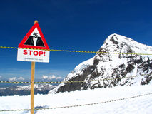 Stop Signboard. Safety barrier at the peak of Europe Royalty Free Stock Photos