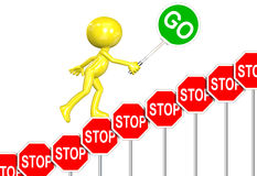 STOP Signs GO Sign progress 3D man cartoon. A 3D cartoon carries GO sign up stair step STOP signs rising above negativity Royalty Free Stock Photography