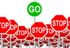 STOP Signs GO Sign progress symbol isolated Stock Images