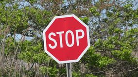 Stop Signs, Halt, Warnings, Traffic Safety stock video footage