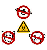 Stop signs in order to avoid disease Ebola virus Stock Photos