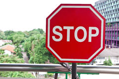 Stop signs. Red stop signs caution in Thailand stock images