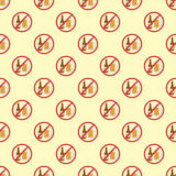 Stop signs seamless pattern prohibitive stop danger warning background vector illustration. Ban graphic hazard alert design dangerous forbid information mark Royalty Free Stock Images