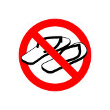 Stop slippers. Ban summer shoes. Red traffic sign not allowed Stock Image