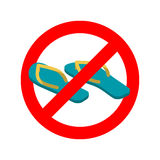 Stop slippers. Ban summer shoes. Red traffic sign not allowed Stock Photo