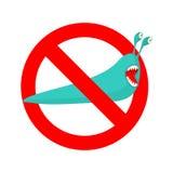 Stop slug. Prohibited Insect pest. Red prohibitory sign ban.  Royalty Free Stock Photo