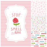 Stop and smell the rose decorations set Royalty Free Stock Photo