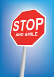 Stop and smile sign Stock Photos