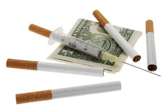 Stop smoking. Concept with injection to show the risk Royalty Free Stock Photos