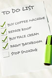 Stop smoking. To do list with stop smoking Stock Image
