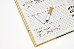 Stop Smoking. Schedule with the entry of the starting point for a life without cigarettes r Royalty Free Stock Photography