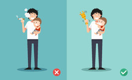 Stop smoking for children, wrong and right for no smoking . Royalty Free Stock Photos