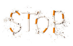 Stop smoking concept background. Made of cigarettes Stock Photography