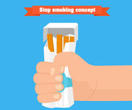 Stop smoking concept. Hand crushing a packet of cigarettes vector. Stock Photography