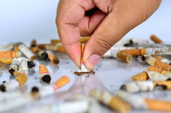 Stop smoking concept. Male hand with cigarette on the ground isolaed as stop smoking concept Stock Photo