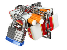 Stop smoking concept. Pack of cigarettes and lock with chain Royalty Free Stock Image