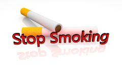 Stop smoking. 3d image. Two cigarettes and  text Royalty Free Stock Images