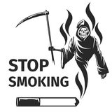 Stop smoking with death sign vector. Stop smoking with death sign. Scytheman symbol, habit cigarette, vector illustration Royalty Free Stock Photos