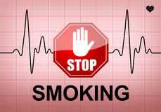 STOP SMOKING on ECG recording paper. STOP SMOKING written on ECG recording paper expressing warning on heart condition, health hazard Royalty Free Stock Image