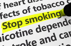 Stop Smoking. Health disease concept with a close-up 3d rendering of stop smoking text highlighted with yellow Royalty Free Stock Photos
