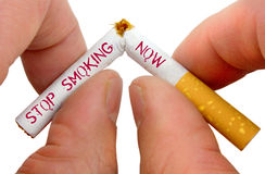 Stop smoking now. On white background Stock Photos