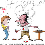 Stop smoking resolution. Cartoon of a smoker and his New Years resolution to quit. Vector and high resolution jpeg files available vector illustration