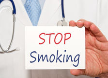 Stop smoking sign held by doctor Royalty Free Stock Photo