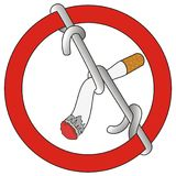 Stop smoking sign tied cigarette Stock Image