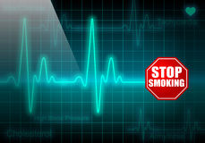 STOP SMOKING sign on turquoise heart rate monitor Stock Photos