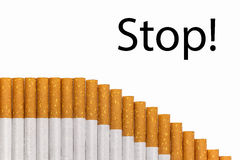 Stop smoking text graph of cigarettes Stock Image