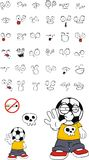 Stop Soccer kid cartoon expressions set Royalty Free Stock Photos
