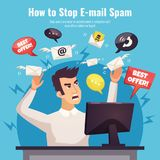 Stop Spam AD Poster. With winged envelopes around angry human with computer on blue background vector illustration Royalty Free Stock Photos