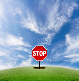 Stop the speed of life. Concept of a stop sign in the middle of nowhere. Signifies the pace of modern life royalty free stock photos