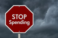 Stop Spending Road Sign Stock Photo