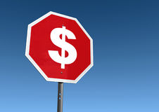 Stop Spending Sign. A stop sign with a large white dollar sign instead of the word stop Royalty Free Stock Images