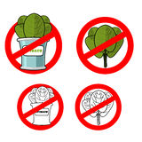 Stop spinach. Prohibited green leaf lettuce. Red prohibition sig Stock Photos