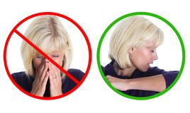 Stop the spread of germs. Please sneeze into your sleeve, not your hands Royalty Free Stock Image