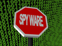 Stop Spyware sign on binary code Stock Image
