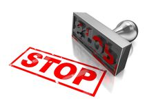Stop stamp. With red text  on a white background Stock Photos