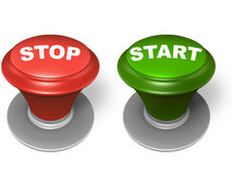 Stop and start button. Stop and start, red and green button, over white background Stock Photos