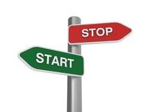 Stop Start Choice. Three dimensional illustration of Directional Sign to choice Stop Start Direction royalty free illustration