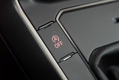Stop-start system button. The stop-start system for more efficient fuel consumption stock image