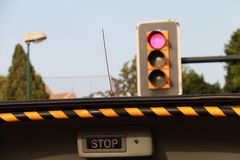 Stop, stoplight. Semaphore with red light: Stop Royalty Free Stock Image