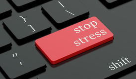 Stop stress concept red hot key on keyboard Royalty Free Stock Photo