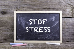 Stop Stress. Old wooden background with texture and chalk blackb. Oard Royalty Free Stock Photography