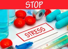 Stop stress. Vaccine to treat disease. Syringe and vaccine with drugs Royalty Free Stock Images