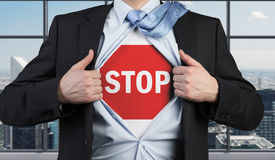 Stop symbol. Businessman open his shirt with stop symbol Stock Image