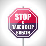 Stop and take a deep breath traffic sign. Stop and take a deep breath bicolor traffic sign on white Royalty Free Stock Photo