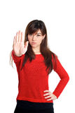 Stop and talk to my hand gesture Royalty Free Stock Image