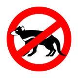 Stop Tasmanian devil. wild animal is forbidden. One hundred beast. Red prohibitory road sign vector illustration
